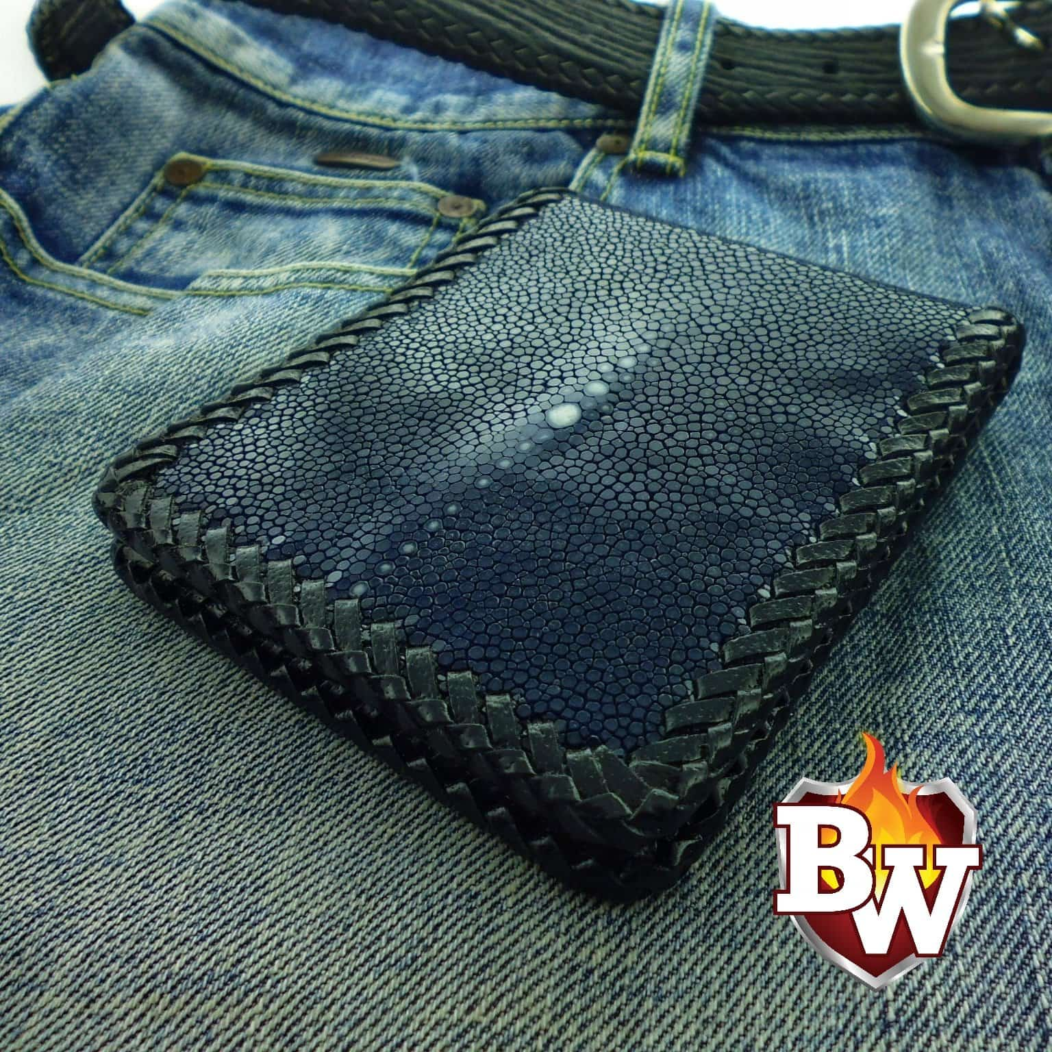 """Slick"" 5"" Custom Handmade Sanded Stingray Men's Biker Wallet"
