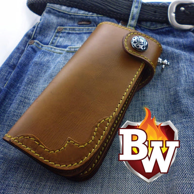 Brown Slim 7-inch  Leather Men's Biker Wallet | Custom Handmade Men's Leather Wallets at Biker-Wallets.com