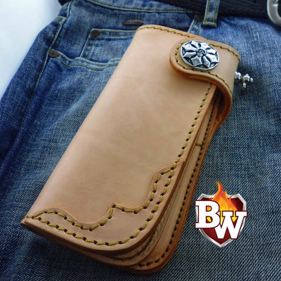 Natural Slim 7-inch  Leather Men's Biker Wallet | Custom Handmade Men's Leather Wallets at Biker-Wallets.com