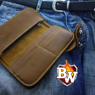 Slim 7-inch  Leather Men's Biker Wallet | Custom Handmade Men's Leather Wallets at Biker-Wallets.com