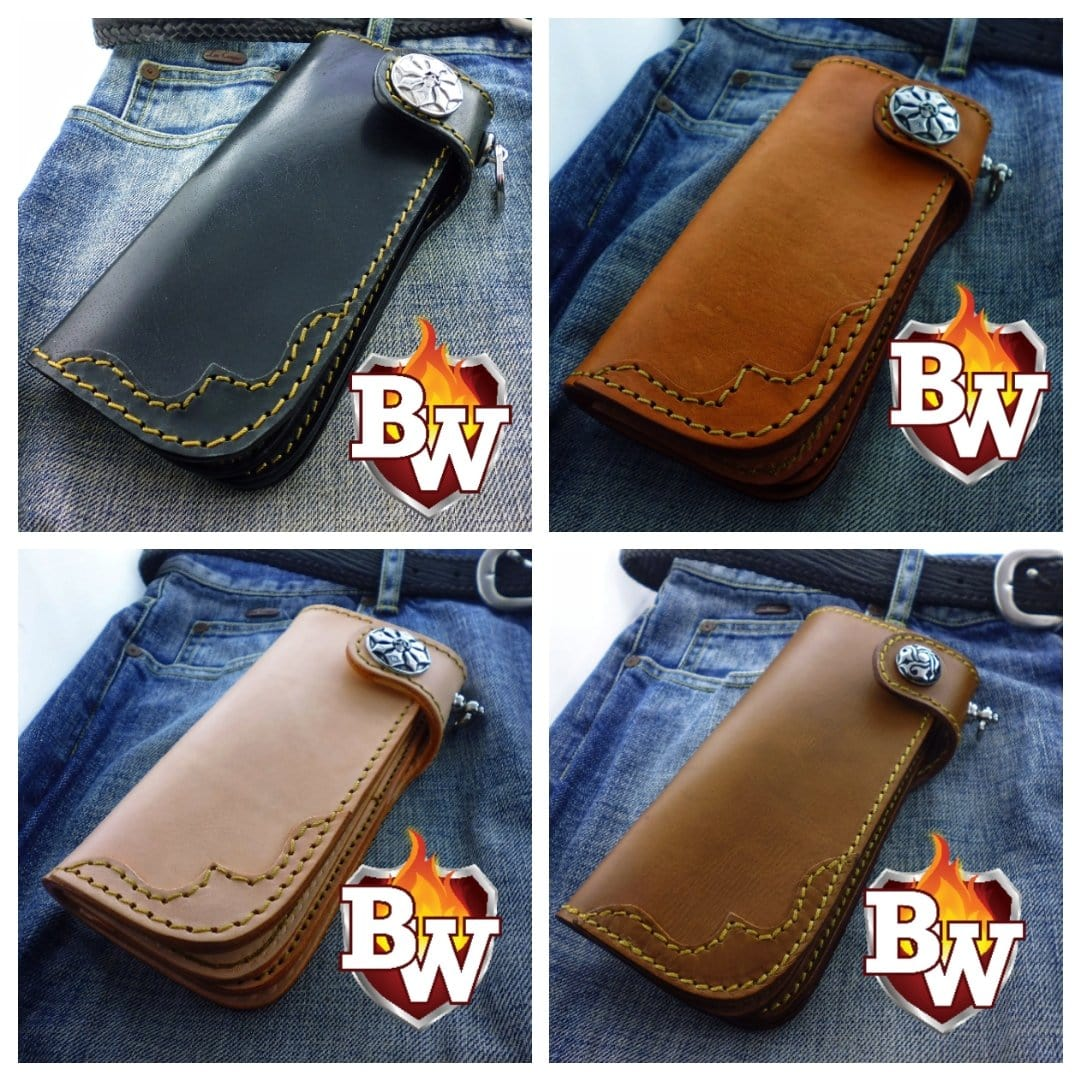 """Slim"" 7"" Custom Handmade Leather Men's Biker Wallet"