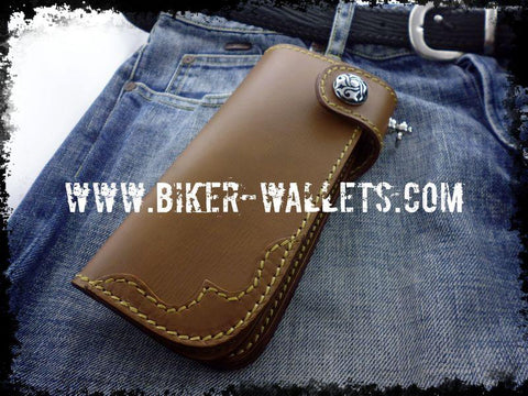 """Slim"" 7"" Brown Custom Handmade Leather Men's Biker Wallet"