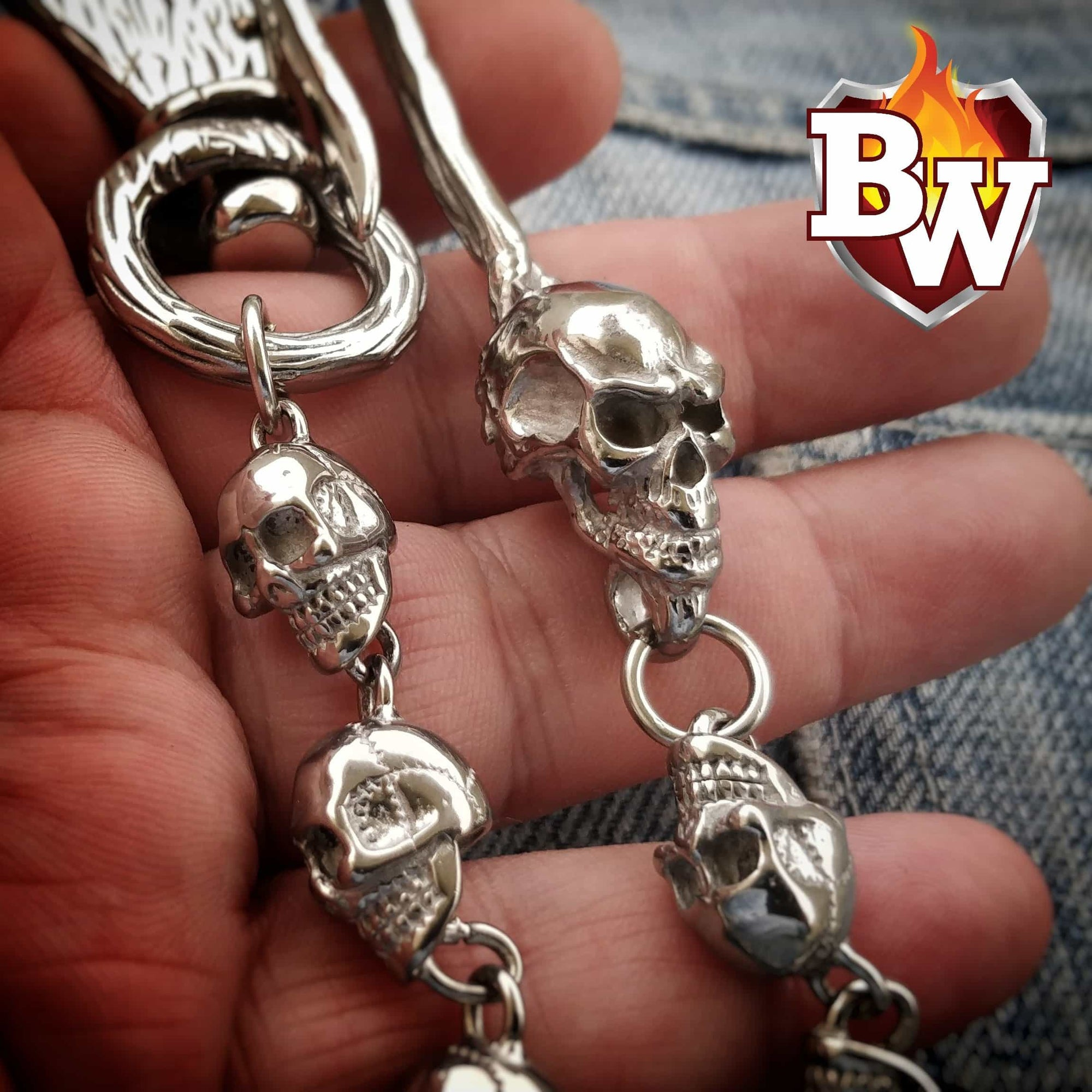 """SMALL SKULL"" 316L Stainless Biker Wallet Chain"