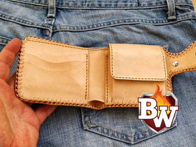 Rugged Super Thick Top Grain Saddle Leather 5-inch Biker Wallet | Custom Handmade Men's Leather Wallets at Biker-Wallets.com
