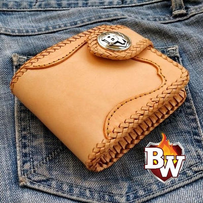 Brown Fleur-de-lis Rugged Super Thick Top Grain Saddle Leather 5-inch Biker Wallet | Custom Handmade Men's Leather Wallets at Biker-Wallets.com