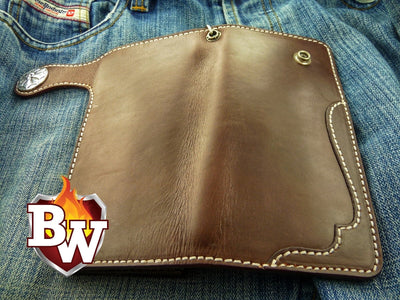 """Smith and Wesson"" 8"" Custom Handmade Leather Men's Biker Wallet"