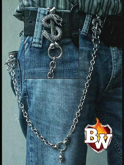 Snake Pit Custom .925 Silver Men's Biker Wallet Chain | Custom Handmade Men's Leather Wallets at Biker-Wallets.com
