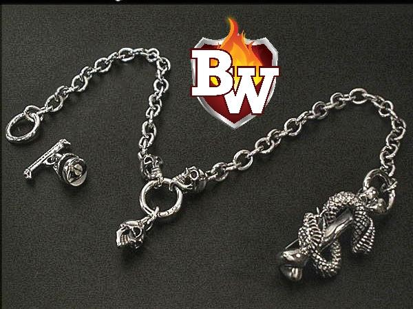 """Snake Pit"" Custom .925 Silver Men's Biker Wallet Chain"