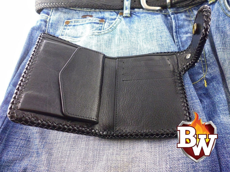 Sniper 5-inch Ostrich  Men's Biker Wallet | Custom Handmade Men's Leather Wallets at Biker-Wallets.com