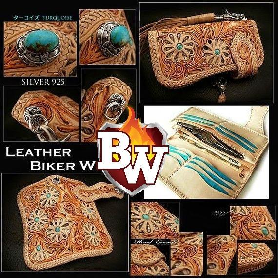 """Southwest"" 8"" Custom Handmade Hand Tooled Leather Men's Biker Wallet"