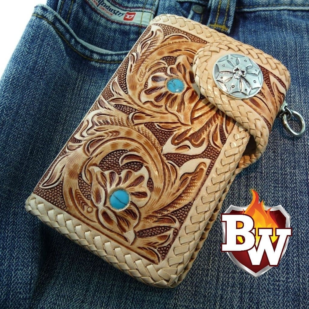 """Southwest"" 6"" Custom Handmade Leather Men's Biker Wallet"