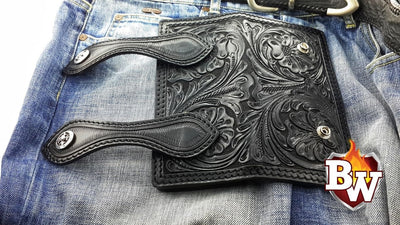 Stagecoach 8-inch  Leather Men's Biker Wallet | Custom Handmade Men's Leather Wallets at Biker-Wallets.com