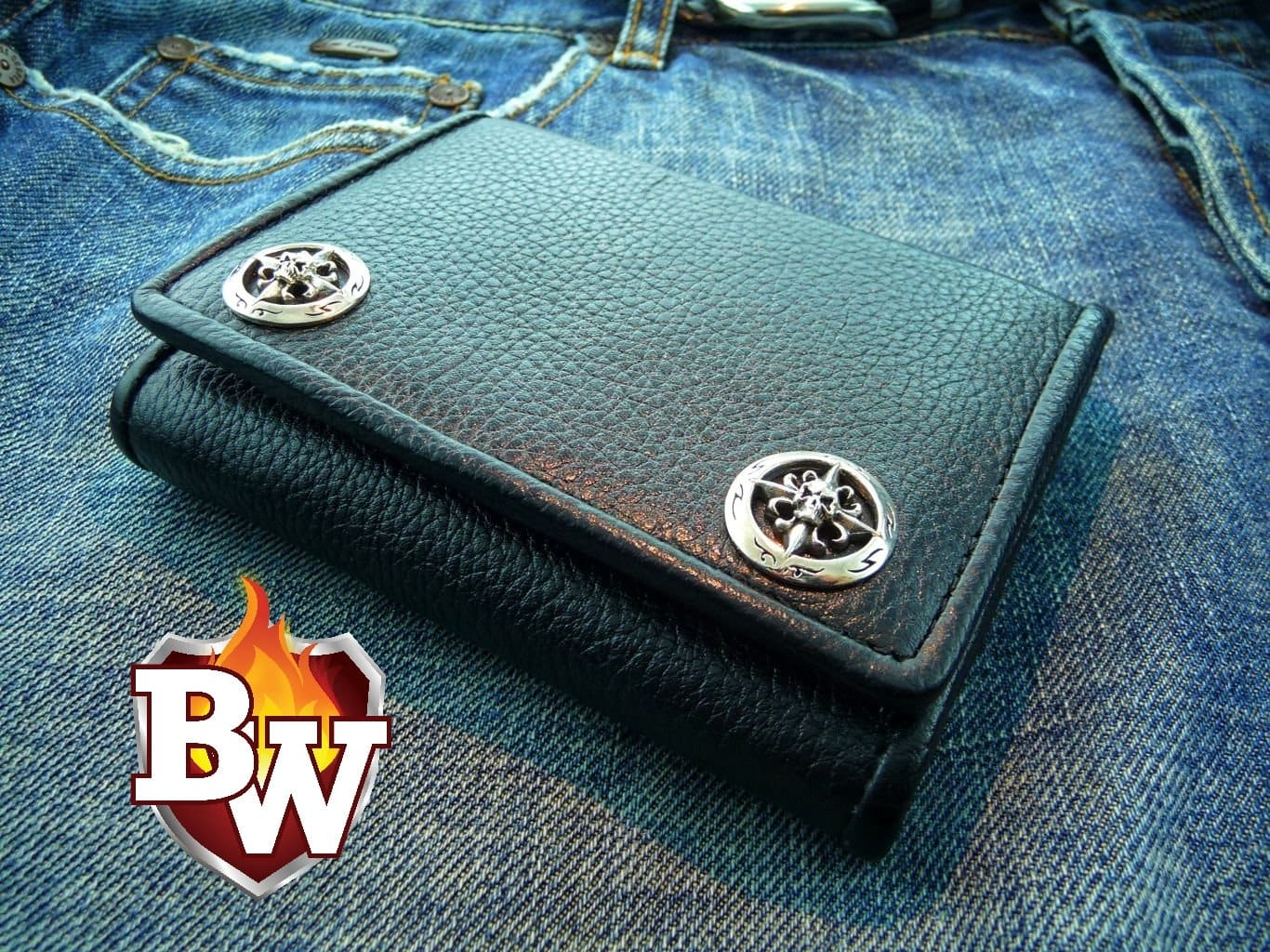 """Stiletto"" 5"" Custom Handmade Leather Biker Wallet"