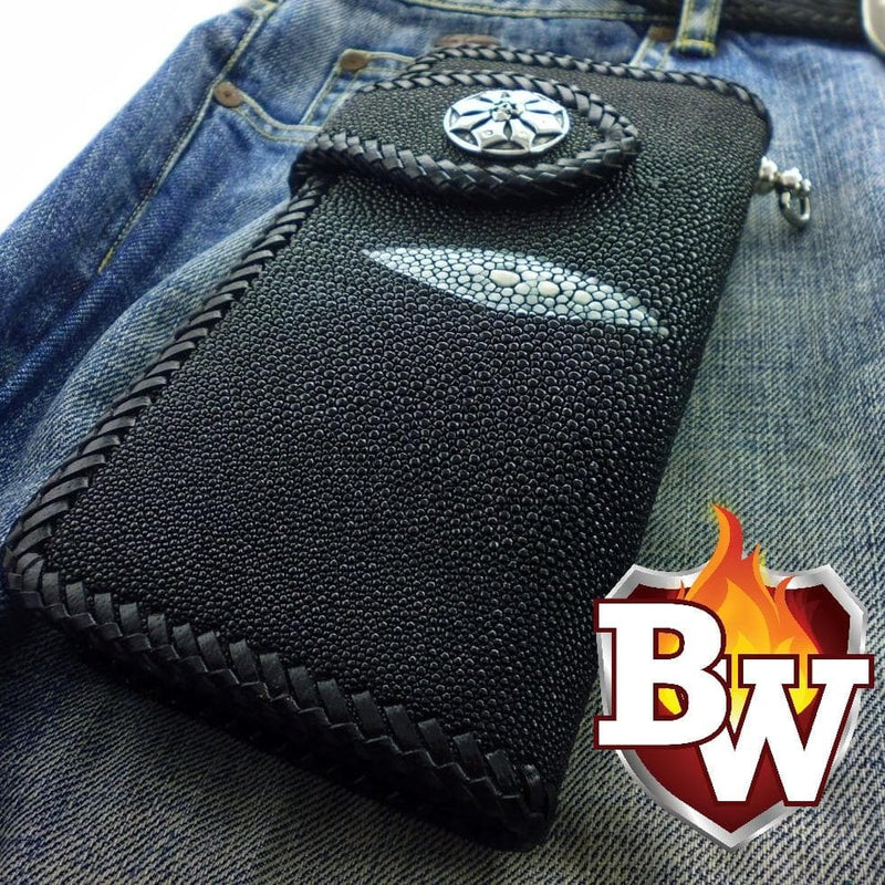 """Stingray Madness"" 8"" Custom Handmade Men's Biker Wallet"