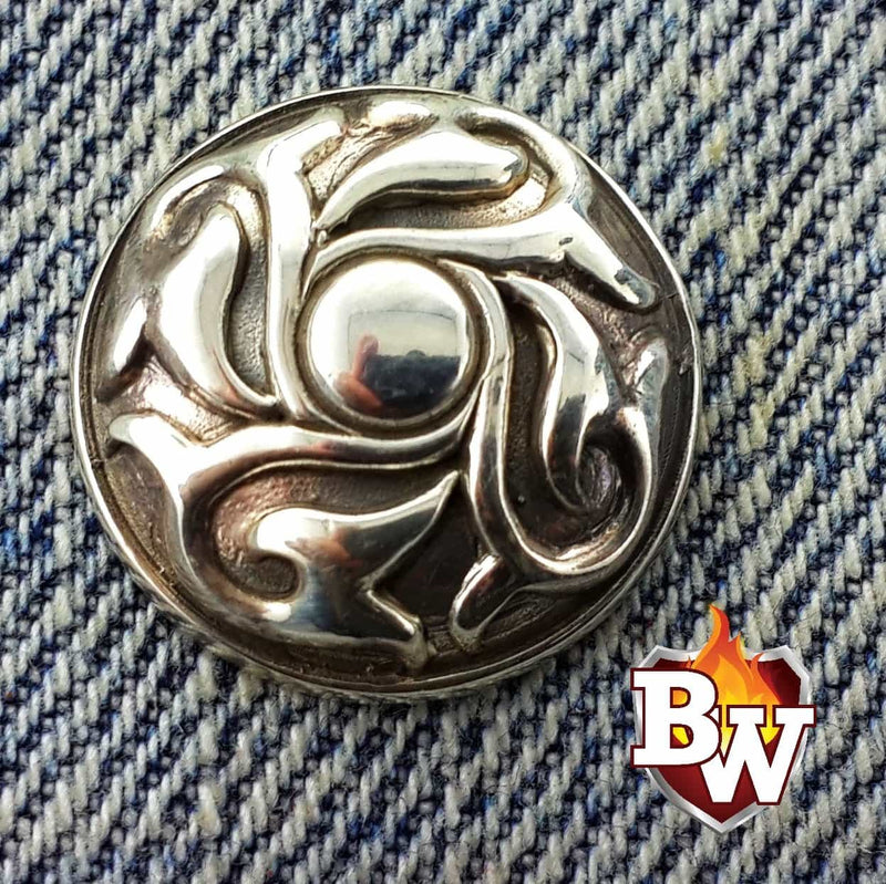 """Swirls"" -set 1- .925 Silver Snap Concho Cap for Custom Biker Wallet"