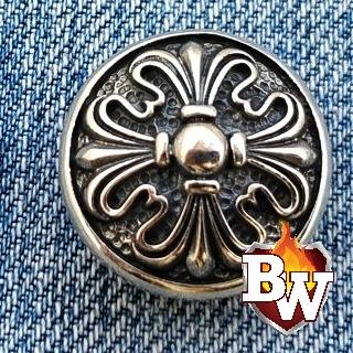 Claw Cross Radial  .925 Silver Snap Concho Cap for Biker Wallet | Custom Handmade Men's Leather Wallets at Biker-Wallets.com