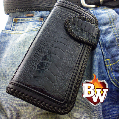 Claw  Ostrich Men's Biker Wallet 8-inch | Custom Handmade Men's Leather Wallets at Biker-Wallets.com