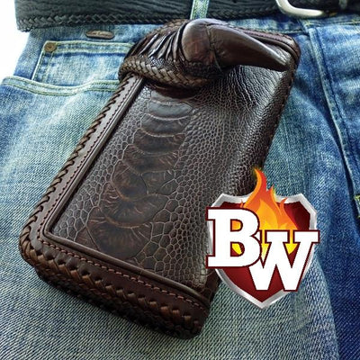 tan Claw  Ostrich Men's Biker Wallet 8-inch | Custom Handmade Men's Leather Wallets at Biker-Wallets.com