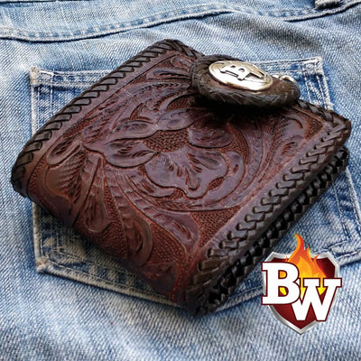 Creature Grey Crocodile Rugged Super Thick Top Grain Saddle Leather 5-inch Biker Wallet | Custom Handmade Men's Leather Wallets at Biker-Wallets.com