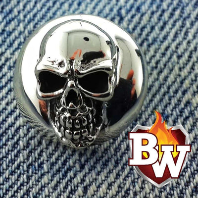 Cluster Skulls  .925 Silver Snap Concho Cap For Biler Wallet | Custom Handmade Men's Leather Wallets at Biker-Wallets.com