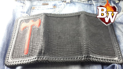 Tomahawk 8-inch  Shark and Stingray Men's Biker Wallet | Custom Handmade Men's Leather Wallets at Biker-Wallets.com