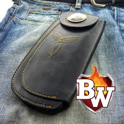 Brown Tommy 8-inch  Leather Men's Biker Wallet | Custom Handmade Men's Leather Wallets at Biker-Wallets.com