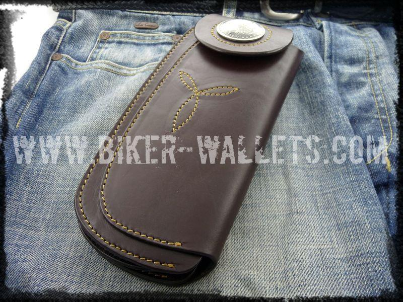 """Tommy Gun Brown"" 8"" Custom Handmade Leather Men's Biker Wallet - Biker Wallets"