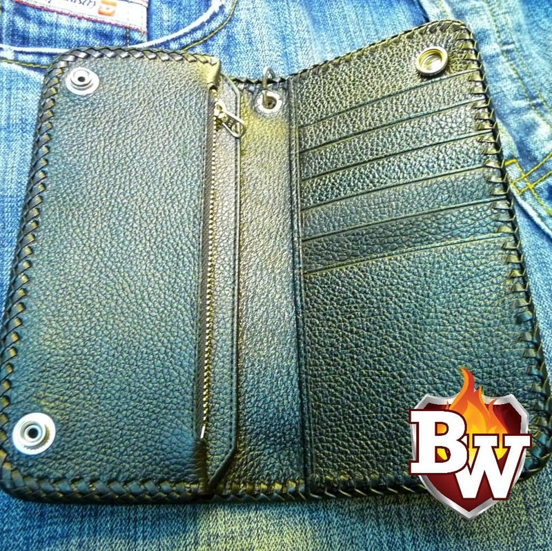 """Transylvania"" 8"" Custom Handmade Stingray Men's Biker Wallet"