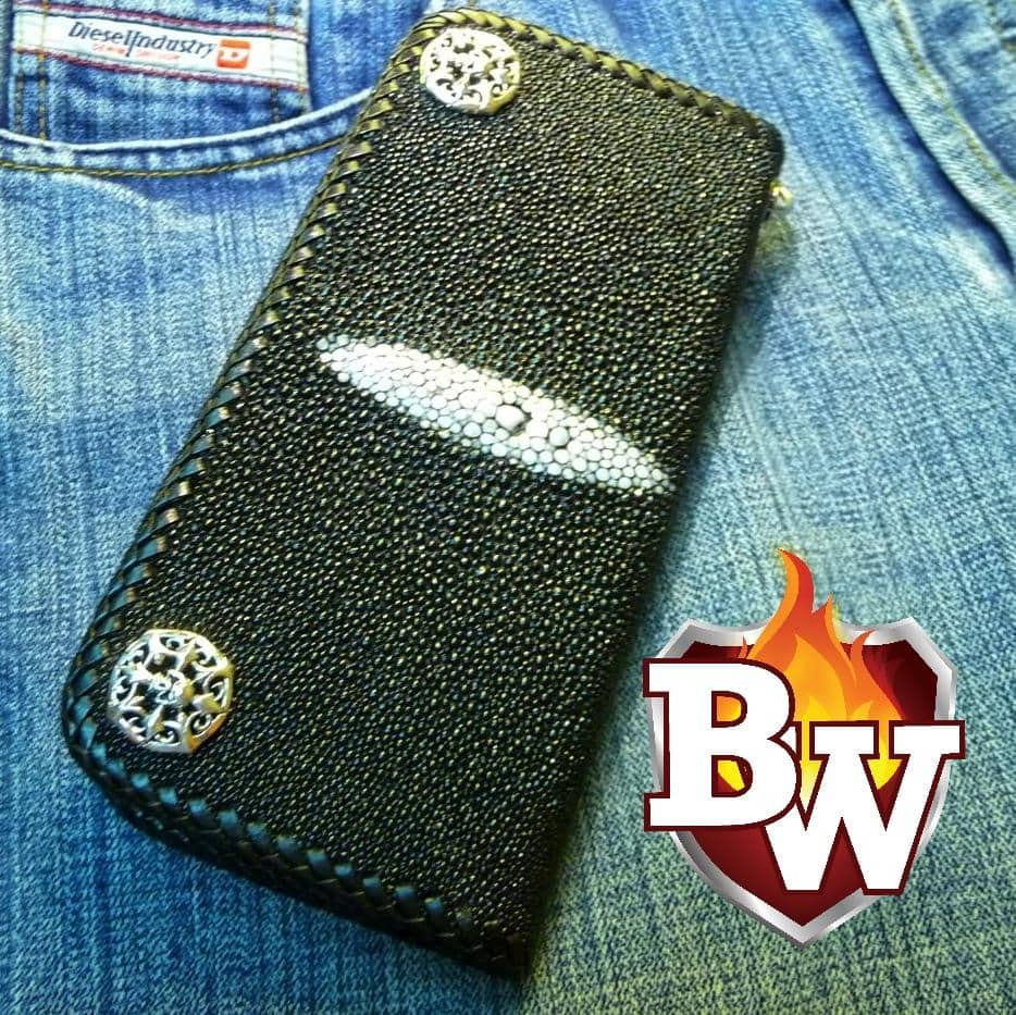 Transylvania 8-inch  Stingray Men's Biker Wallet | Custom Handmade Men's Leather Wallets at Biker-Wallets.com