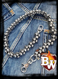 """Trifecta"" Stainless Steel Biker Wallet Chain with Flaming Skulls"