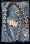 Trifecta Stainless Steel Biker Wallet Chain with Flaming Skulls | Custom Handmade Men's Leather Wallets at Biker-Wallets.com