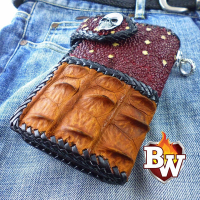 Dark Brown Two Tone 6-inch  Men's Biker Chain Wallet | Custom Handmade Men's Leather Wallets at Biker-Wallets.com