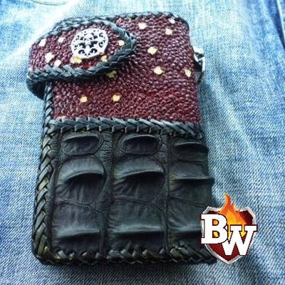 Two Tone 6-inch  Men's Biker Chain Wallet | Custom Handmade Men's Leather Wallets at Biker-Wallets.com