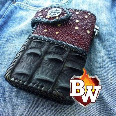 Purple Two Tone 6-inch  Men's Biker Chain Wallet | Custom Handmade Men's Leather Wallets at Biker-Wallets.com