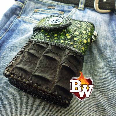 Green Two Tone 6-inch  Men's Biker Chain Wallet | Custom Handmade Men's Leather Wallets at Biker-Wallets.com