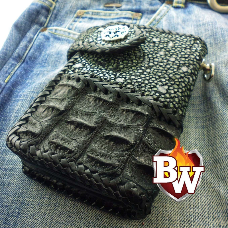 Black Two Tone 6-inch  Men's Biker Chain Wallet | Custom Handmade Men's Leather Wallets at Biker-Wallets.com