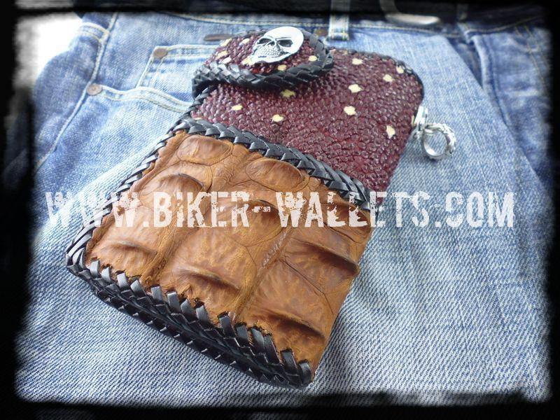 Two Tone 6 Custom Handmade Men's Biker Chain Wallet - Handcrafted Quality Genine Leather Backed by a 5-Year Warranty - Biker-Wallets.com