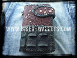 """Two Tone"" 6"" Star Stingray and Crocodile Custom Handmade Men's Biker Wallet"