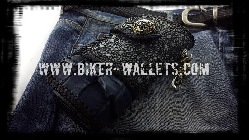 """Two Tone"" 8"" Custom Handmade Men's Biker Chain Wallet"