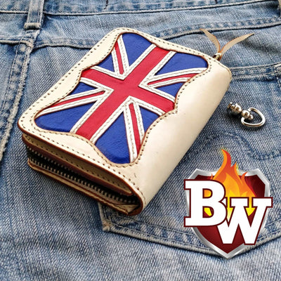 """Union Jack"" 5"" Handmade Custom Leather Biker Wallet"