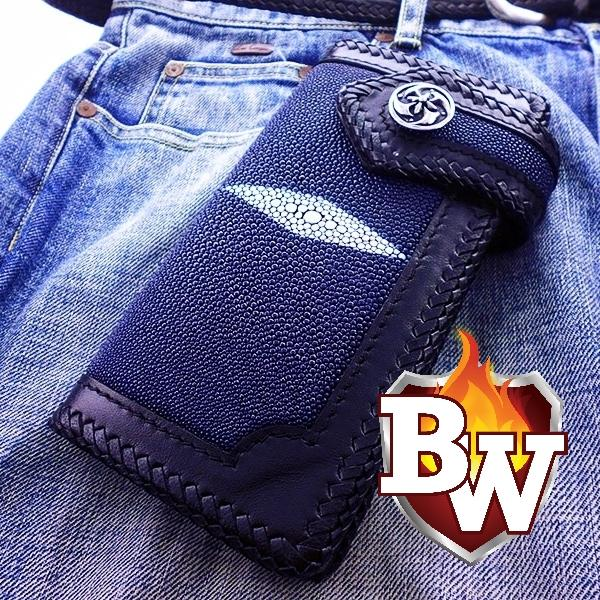Stingray Venom 8-inch Custom Handmade High Capacity Men's Biker Wallet | Custom Handmade Men's Leather Wallets at Biker-Wallets.com