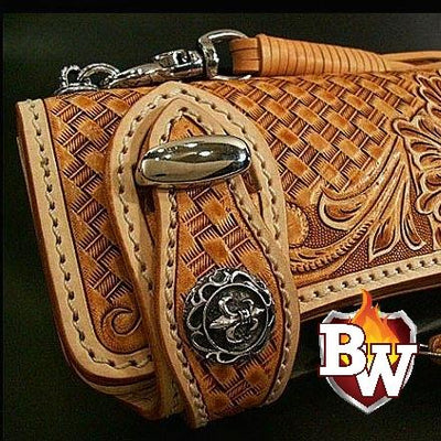 """Western"" 8"" Custom Handmade Hand Tooled Leather Men's Biker Wallet"