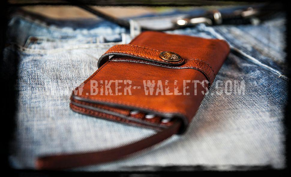 """Whiskey"" 8"" Brown Leather Long Biker Wallet"