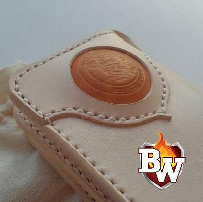 """White Steed"" 8"" Natural Leather Handmade Men's Biker Wallet"