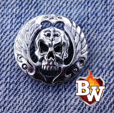 Fidelio Skulls  .925 Silver Snap Concho Cap For Biler Wallet | Custom Handmade Men's Leather Wallets at Biker-Wallets.com
