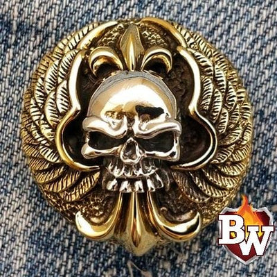 Winged Skull 2 Skulls  .925 Silver Snap Concho Cap For Biler Wallet | Custom Handmade Men's Leather Wallets at Biker-Wallets.com