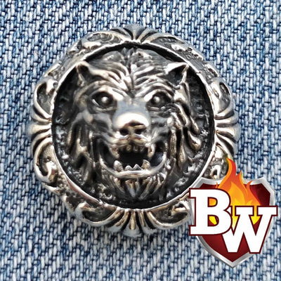 Silver and Brass Werewolf .925 Silver Snap Concho Cap for Biker Wallet | Custom Handmade Men's Leather Wallets at Biker-Wallets.com