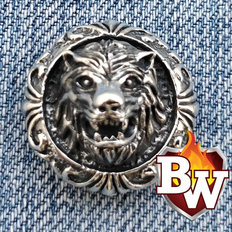 Silver Werewolf .925 Silver Snap Concho Cap for Biker Wallet | Custom Handmade Men's Leather Wallets at Biker-Wallets.com