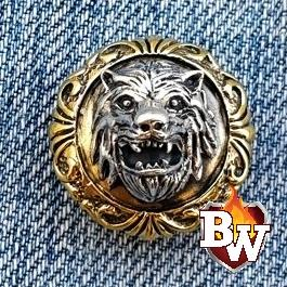 Werewolf .925 Silver Snap Concho Cap for Biker Wallet | Custom Handmade Men's Leather Wallets at Biker-Wallets.com