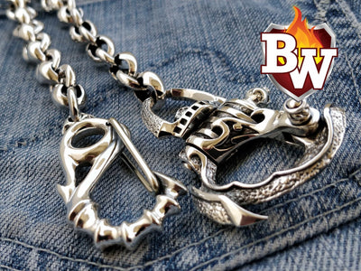 Wrath Custom .925 Silver Men's Biker Wallet Chain | Custom Handmade Men's Leather Wallets at Biker-Wallets.com